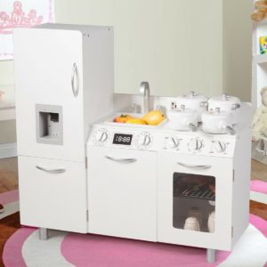 Kid's Wooden Kitchen Pretend Playset with Fridge & Stove