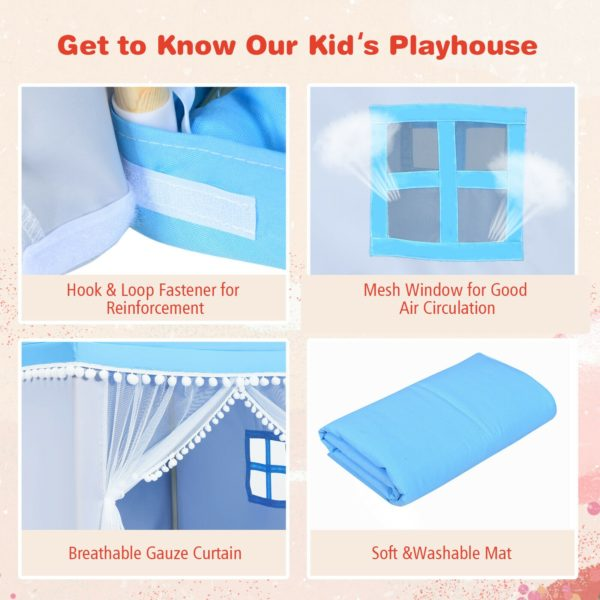 Children's Wooden Frame Playhouse Tent with Mat