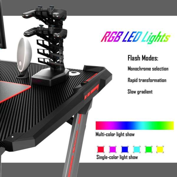 Gaming Computer Desk Ergonomic Z-shaped RGB Light Workstation