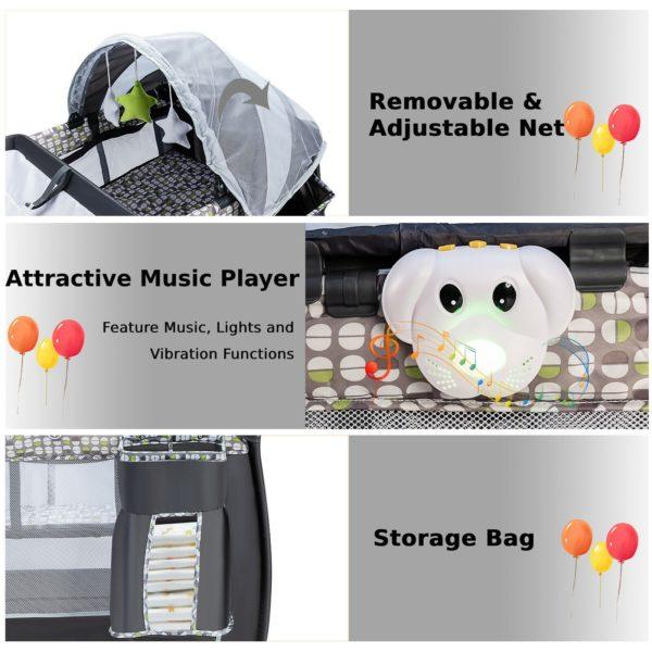 Baby Travel Cot Foldable Playpen Infant Bassinet Cot Bed