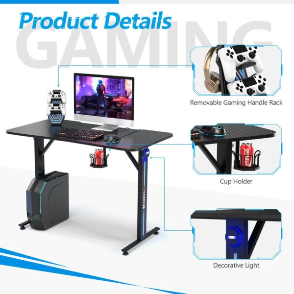 T-shaped Computer Table Ergonomic Game Desk with Controller Stand