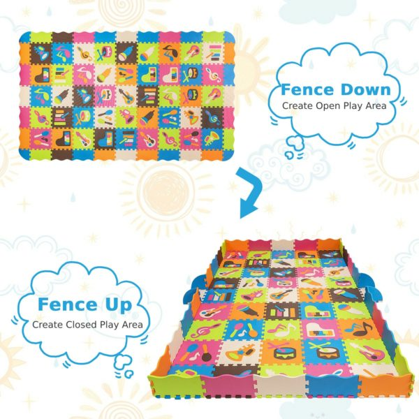 125PCS Soft EVA Foam Baby Play Mat with Puzzle Jigsaw Instrument