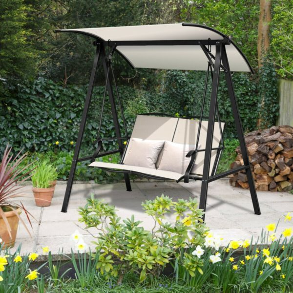 Outdoor Garden 2 Person Swing Loveseat with Adjustable Canopy