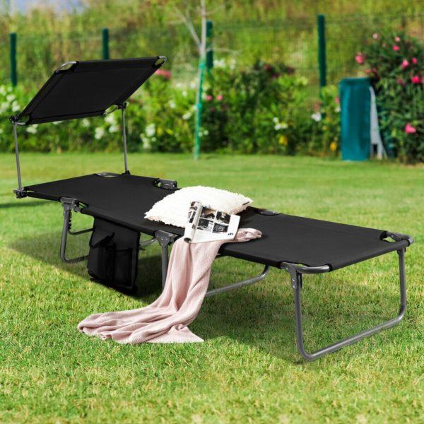 Foldable Sun Shading Lounger Adjustable Deck Recliner